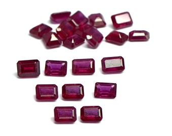 ruby stone, octagan cut loose gemstone, pack of 10 pcs