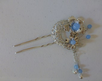 Chinese Sliver Flower and Blue Beads Hair Accessories Hair Stick Hair Pins