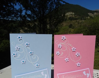 Handmade card congratulations baby boy or baby girl / Carte fait main Félicitations Bébé