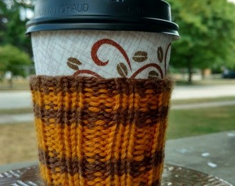 Coffee Cozy: Brown and Yellow Stripes