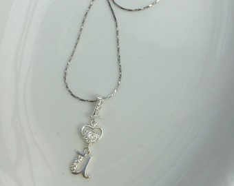 I love you Sterling Silver necklace with cubic zirconia