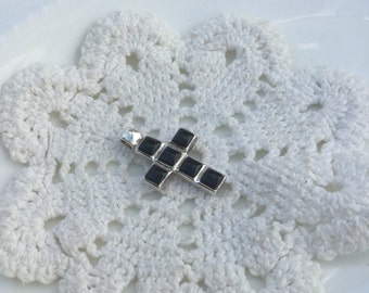 Black Onyx cross 925 Sterling silver pendant