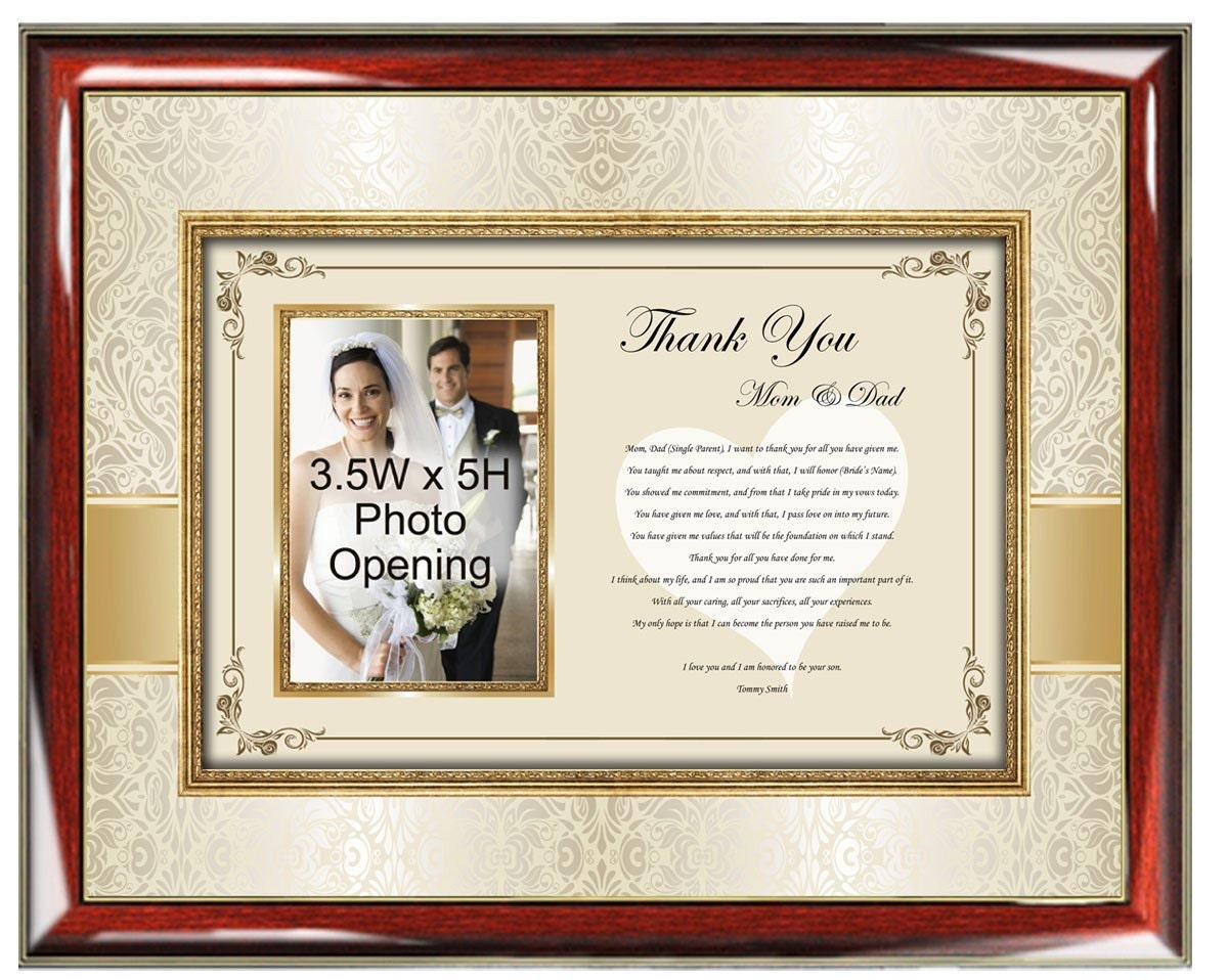 Wedding Thank You Parents Poetry Picture Frame From Groom ...
