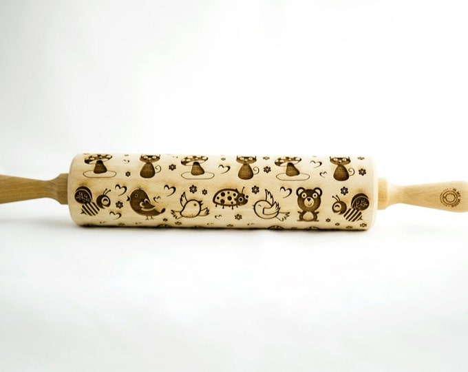 KIDS ANIMALS rolling pin, embossing rolling pin, engraved rolling pin for a gift, gift ideas, gifts, unique, autumn, wedding