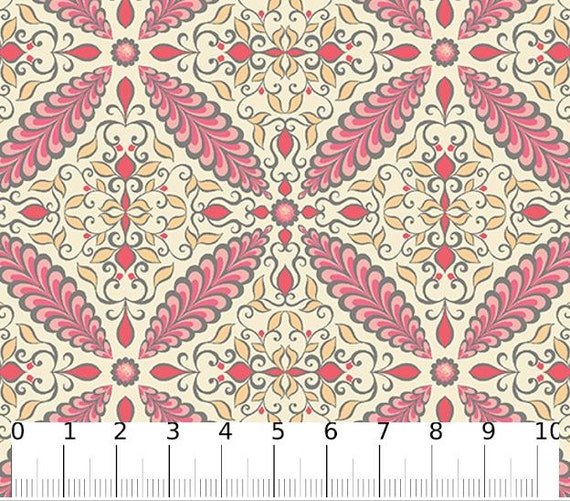 Fabric Flourish Tile Cream Pink Cotton Fabric Fabric