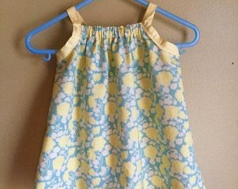 Girls' sun dress, yellow flowers (3-6 mos)