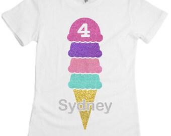 Girls Personalized Ice Cream Shirt