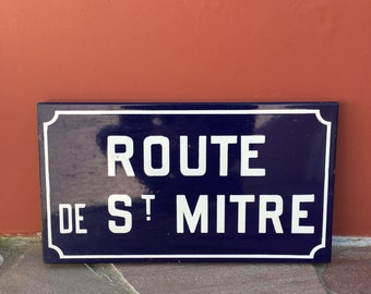 Old French Street Enameled Sign Plaque - vintage mitre