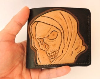 Skull wallet, tooled leather wallet, handmade wallet for men, hooded skull, reaper, natural leather, The Proper Leather Studio, Transylvania