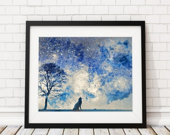 Wolf Watercolor Print - Wolf Painting, Fantasy Watercolor Painting, Native Watercolor Art Print, Wolf Art, Fantasy Art Howling Wolf Wall Art