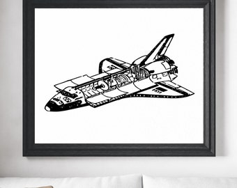 Space Shuttle Print, Space Poster, Astronomy Gifts, Astronomy Art, Astronomy Print, Astronomy Poster, Office Wall Art, Gifts for Him