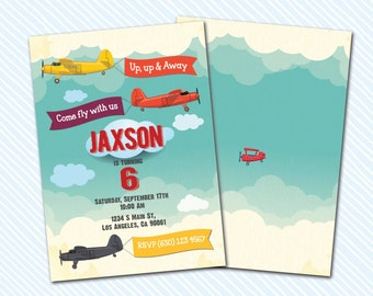 Digital Printable Airplanes Birthday Invitation. Boy Birthday
