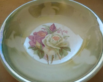 Vintage Green Plate with Flowers