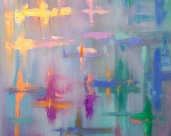 """Abstract original oil painting titled """"Angels"""""""