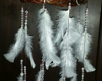 White feather chandelier mobile