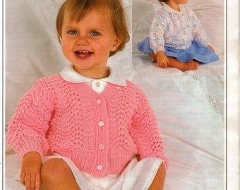 PDF Knitting Pattern by Peter Pan.  P625 (18-22 ins).  Round and V neck cardigans for Toddlers
