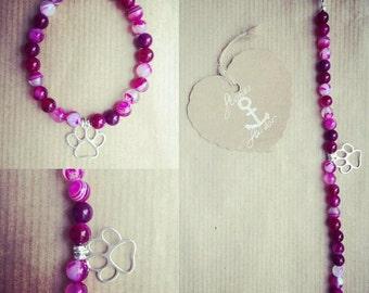 Gemstone Agate bracelet charm 925 Silver, Fuchsia stripe Paw.