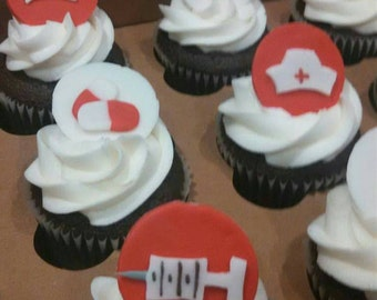 Custom nursing edible cupcake toppers