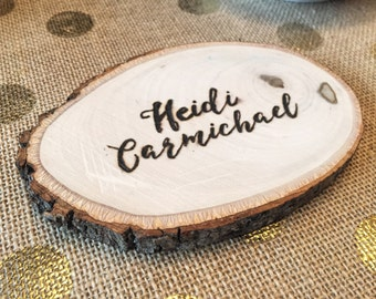 Wooden Hand Burned Name Tag