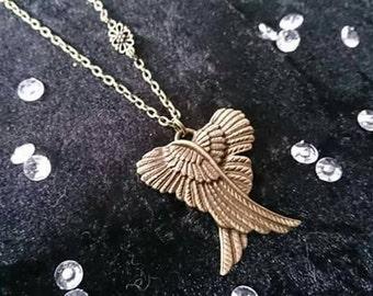 Bronze necklace Angel Wings