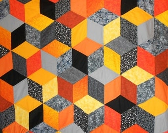 "Tiger Tumbling Blocks Quilt -Full/Queen/King  82"" x 99"" Rich/Bright Oranges, Yellows, Blacks, Grey Back"