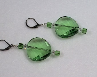 Twisted Swarovski Earrings in Peridot