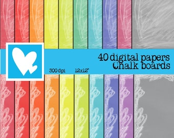 40 Digital Papers Chalk Board in rainbow colors Clip Art Digital Scrapbooking.
