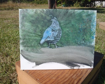 Original Acrylic Painting of Quail Bird