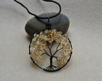 Tree of Life Citrine Chip Pendant - Item 015