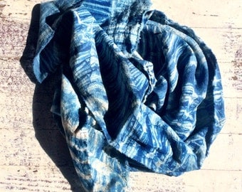 Indigo Dyed Linen Scarf, lightweight raw edges, Fall/winter Shibori