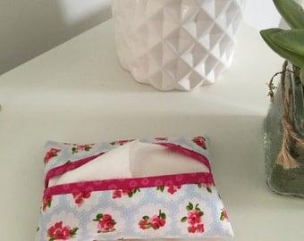 Pocket Tissue Cover - Blue/Pink Ditsy Floral