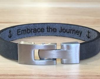 FREE SHIPPING-Men Bracelet, Leather Bracelet,Men Leather Bracelet,Personalized  Bracelet,Engraved Leather Bracelet,Stainless Steel Bracelet,