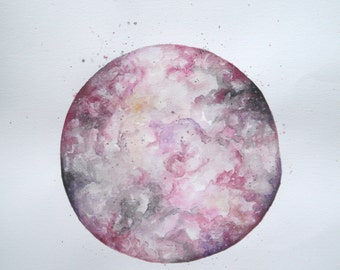 Rose Moon PRINT// Watercolour Moon Illustration