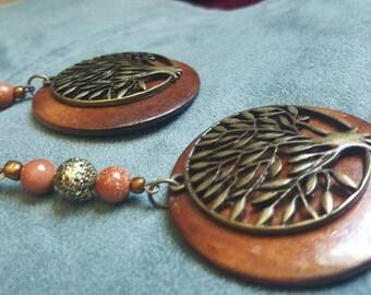 Wood tree pendant long 4 in afrocentric dangle earrings