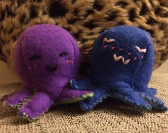 Small octopus felt fleece stuffed plush toys cute kawaii