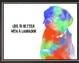Unique Labrador Dog Digital Art Print Mounted 10 x 12