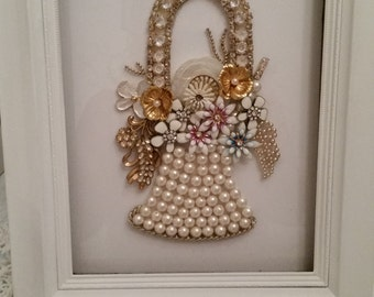 Vintage Jewelry Floral Basket Picture