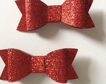 Little Red Bow Hair Clips - Set of 2