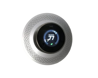 "Nest Thermostat 6"" silver wall plate with engraved border"