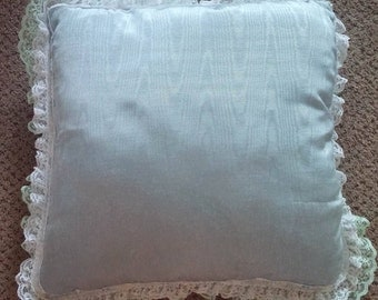 Square Blue White Green Lace Ruffle Throw Pillow Handmade