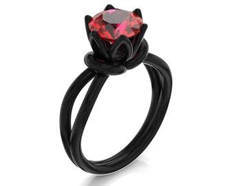 Decorum 14K Black Gold 2.0 Ct Red Ruby Classic French Engagement Ring G1047-14KBGR