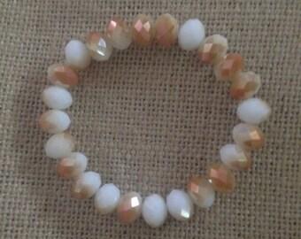 White and gold shimmer rondelle beaded bracelet