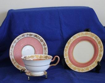 Wedgwood Trio Whitehall Pattern in Salmon Pink