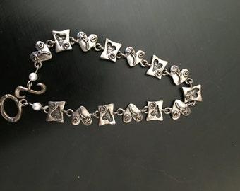 Pewter Heart love Bracelet