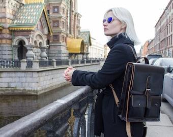 Black Leather Backpack - Black Backpack