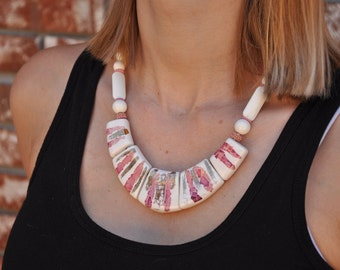 Vintage Chunky Beaded Bib Necklace, Large Pink, White + Gold Beads, Thick Statement Jewelry Gift