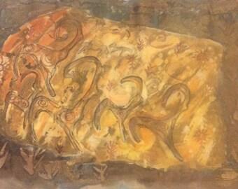Batik, petroglyphs, cave drawings , wax.