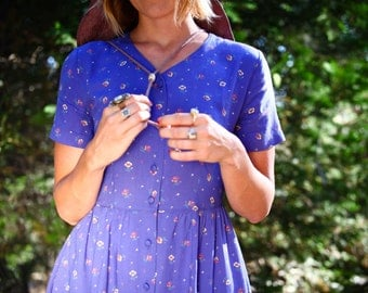 Vintage // LL Bean // Day dress // Floral // Periwinkle // Size 4