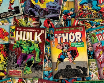 Marvel Fabric  Comic Fabric Comic Covers Fabric From Springs Creative