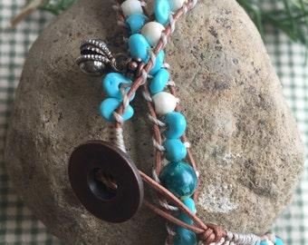 Rustic glass & wood beaded double wrap bracelet